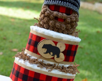 Lumberjack Baby Shower Decoration - Diaper Cake for Boys - Camping Baby Shower Theme - Bearded Baby Hat - Lumberjack Plaid Decorations