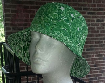 Reversible Colored Paisley and Dashes Bucket Hat!! Custom Made