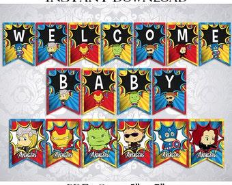 50% OFF SALE Banner Baby Shower SuperHeroes Super Heroes SuperHero Super Hero Happy Birthday, PDF Instant Download