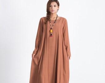 Orange Women's loose maxi dress Oversize linen pullover kaftan plus size clothing Winter warm dress large size dress Custom-made A40