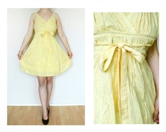 S Women's Vintage yellow Dress with ribbon