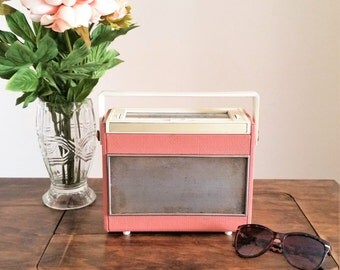 Pink Ferranti Radio, Vintage 1940s 1950s Radio, Small Portable LW MW Retro Home Decor Audio Display Only Mid Century Modern MCM
