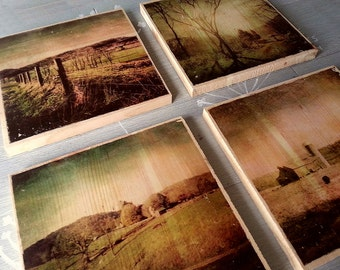 Set of 4 Photos on wood countryside Virginia mixed media photo transfer wall art decor roadside back roads scenery rustic
