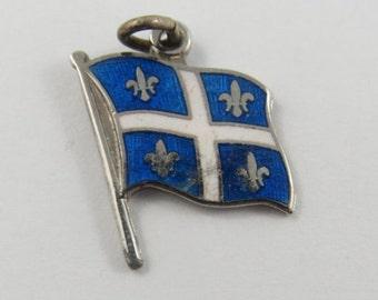Fleurdelisé Flag of Quebec With White and Blue Enamel Sterling Silver Vintage Charm For Bracelet