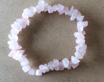 Natural Rose Quartz Chip Bead Bracelet - includes complimentary gift pouch