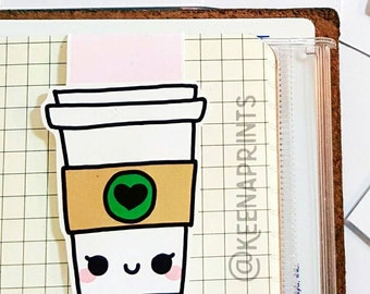 COFFEE Bookmark - Cute Magnetic Page marker perfect for Books, planners, journals and notebooks