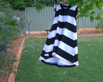 t-shirt dress 2-3 years  Hi-low tee shirt dress, black white striped dress, girls sleeveless tee shirt dress, girls hi-low striped dress