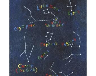 Constellations Print (2 of 2) Acrylic on Canvas, 5x7, 8x10, 11x14, 13x19, Stars, Constellations, Kids Art, Space, Children's Art, Kids Decor