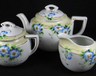Tea Set Hand Painted Chinaware, Teapot, Creamer & Covered Sugar Bowl + 3 Teacups,  Made in Japan Vintage Shabby Chic Cottage Decor