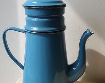 french Antique / blue enamel coffee / french antique enamel coffe pot.