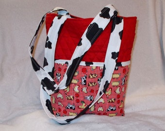 Quilted Red Farm Print and Cow Print Tote Handbag Purse Tote Bag with Chickens Cows Farm Print Outside Pockets Farm Cow Chicken Shoulder Bag