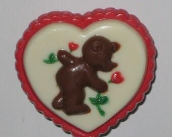 Bear Picking Heart Flowers Pop
