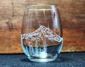 Mt. Hood Hand-Engraved Stemless Wine glass