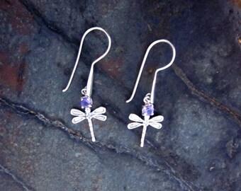 Amethyst & Antiqued Sterling Silver Dragonfly Earrings- #12