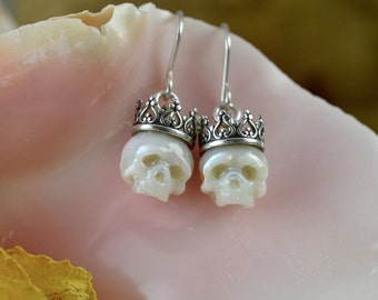 Carved Pearl Skull With Crowns Dangle Sterling Silver Earrings  - Carved Pearl Jewelry - Skull Earrings - Skull Jewelry - Holiday Gift