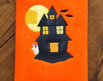 Fingertip Towel, Embroidered Fingertip Towel, Halloween Towel, Haunted House, Ghost, Bats, Embroidered Towel, Gifts for Her, Hostess Gifts