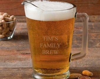 Personalized Glass Pitcher - Beer, Margarita, Lemonade, Water Pitcher 60 oz