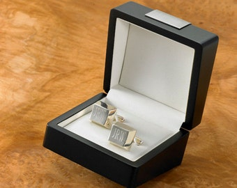 Engraved Silver Plated Cufflinks - Wedding Cufflinks