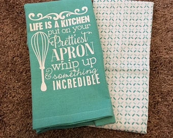 Cute Kitchen Flour Sack Towel Set   Turquoise U0026 White   Tea Towel Set    Hostess
