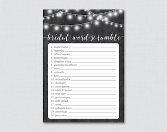 Chalkboard Bridal Shower Word Scramble - Printable Rustic Bridal Shower Game - Chalkboard and Lights Bridal Shower Word Scramble Game 0005