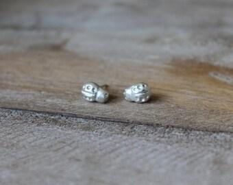 Fine silver Ladybug earrings - sterling silver