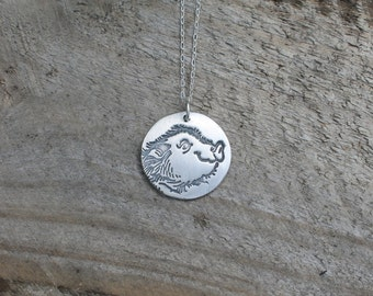 Pig fine silver pendant