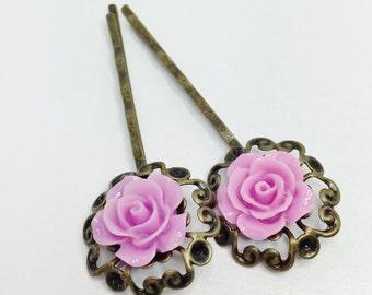Lilac Rose Hair Pin Victorian Vintage Bobby Pin Bridesmaid Gift Lilac Bridesmaid Flower Girl Gift Lilac Wedding Pretty Purple Hair Accessory