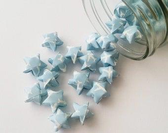 48 Blue and White Plane Origami Stars: Blue - White - Airplane - Mini Stars - Origami Star Decoration - Folded Paper - Travel - Flying