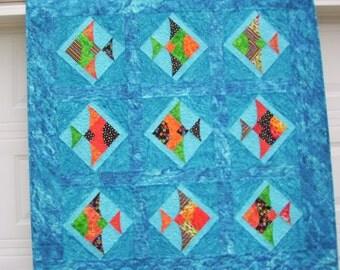 "Wallhanging, handmade quilt 50"" x 50"" fishy design"
