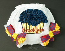 Circus Carnival Birthday Diaper Cover PERSONALIZED Ruffle Cupcake CUSTOM Baby Girl MONOGRAMMED Bows- Yellow Navy Orange Red - Made To Order