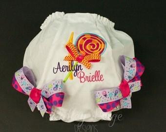 Personalize Lollipop Birthday Diaper Cover, Lollipop Birthday Bloomer, Monogram Baby Girl Diaper Cover, First Birthday Outfit, 1st Birthday