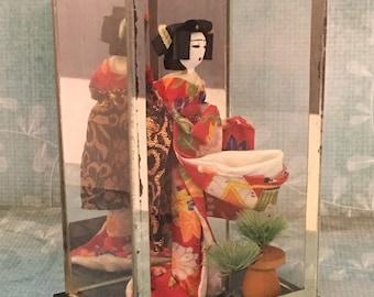 Small Vintage Otagiri Japanese Geisha Doll in Square Glass Shadow Box - Collectible Japanese Art Doll