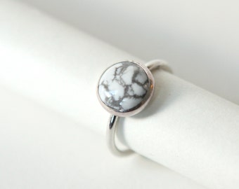 Super Moon Ring - Handmade Sterling Silver and White Howlite