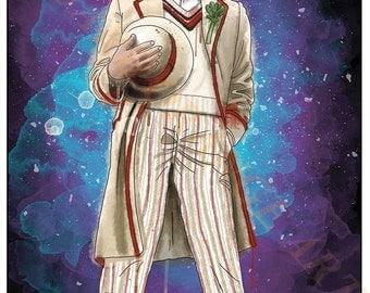 Fifth Doctor Peter Davison 5th Dr Who Splash Style A4 Original Art Print