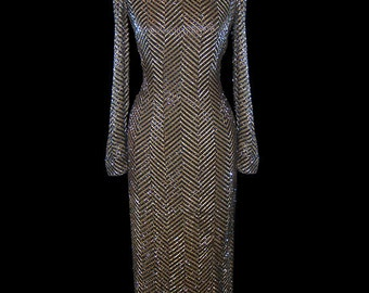 Bob Mackie vintage beaded gown, heavily beaded couture dress, evening, formal, red carpet, 1980s 80s 80's, long sleeves, fitted