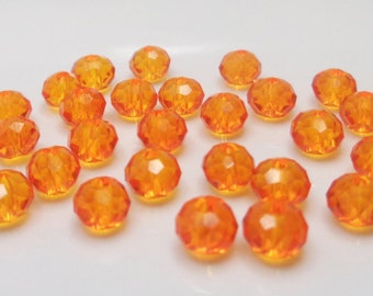25/50/100 round glass crystal faceted beads 4x3mm, mandarin (orange)