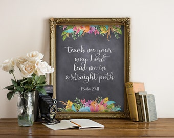 Scripture printables, Bible verse print art, Scripture art, Christian wall art decor, Inspirational quote, Christian art, Psalm 27:11 BD-968