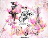 Paris Clipart French Fashion Watercolor Eiffel Tower Floral Illustration Modern Vintage Dress Shoes Retro Scooter Handpainted Blogger Theme