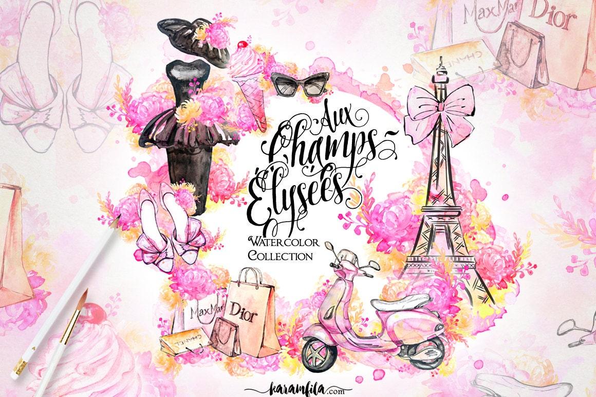 Paris Clipart French Fashion Watercolor Eiffel Tower ...