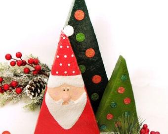 Christmas home decor, paper Christmas tree, Santa decorations, Christmas home decor, Christmas gift, recycled art, eco friendly, xmas decor