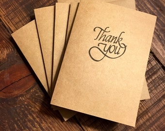 Thank You Cards, Bulk Thank You Cards, Card and Envelope, Wedding Thank you Cards, Hand Stamped Thank You Notes, Kraft Cards, Kraft Paper