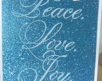 Peace Love Joy Christmas card handmade