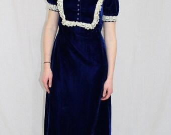 Vintage 60s MOD Sapphire Blue VELVET Lace Empire Hippie Boho Maxi Dress M