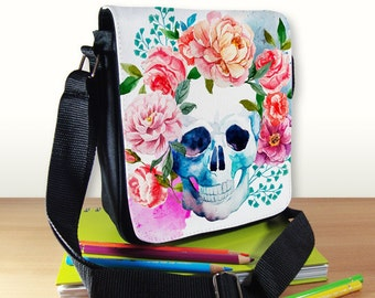 Watercolor Sugar Skull Shoulder Bag - Skull with Flowers - Small Shoulder Bag - Messenger Bag - Reporter Bag - Crossbody Bag