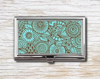 Zentangle Art Business Card Case, Business Card Holder, Card Case, Card Holder, Zentangle Art, Mandala, Mandala Art, Doodle Art, Turquoise