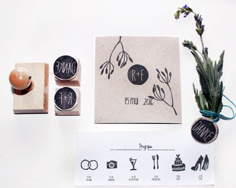 Wedding stamp set in Italy, thank you and program