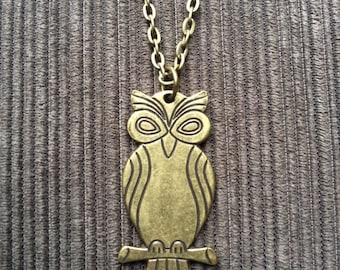 Antique Bronze Owl Pendant Necklace