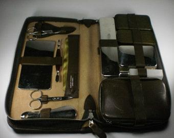 REDUCED - Vintage W. German Brown Leather Vanity Travel Set, 1950's