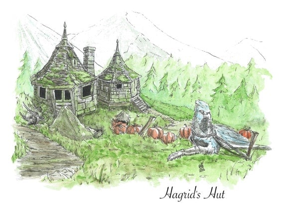 Illustration print hagrid 39 s hut harry potter by What house was hagrid in