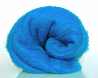 Wool batt for Needle felting and Wet Felting. Carded wool.  Strong and stable fiber. Azure Blue,  Sky blue, Vivid blue